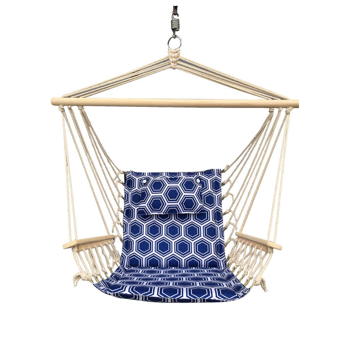 Hanging Chair with Pillow & Arms - Navy and White