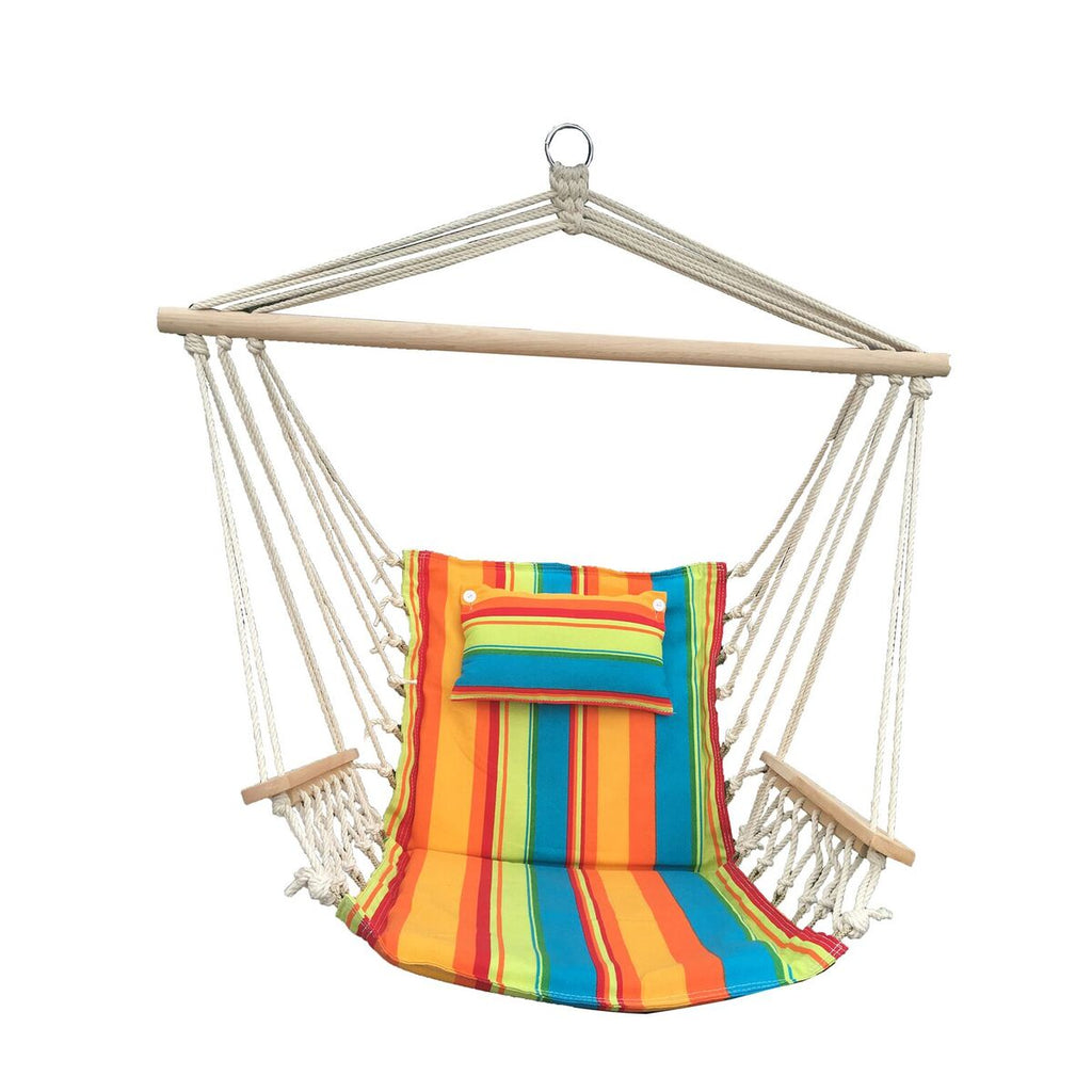 Hanging Chair with Pillow & Arms - Multi-Colored