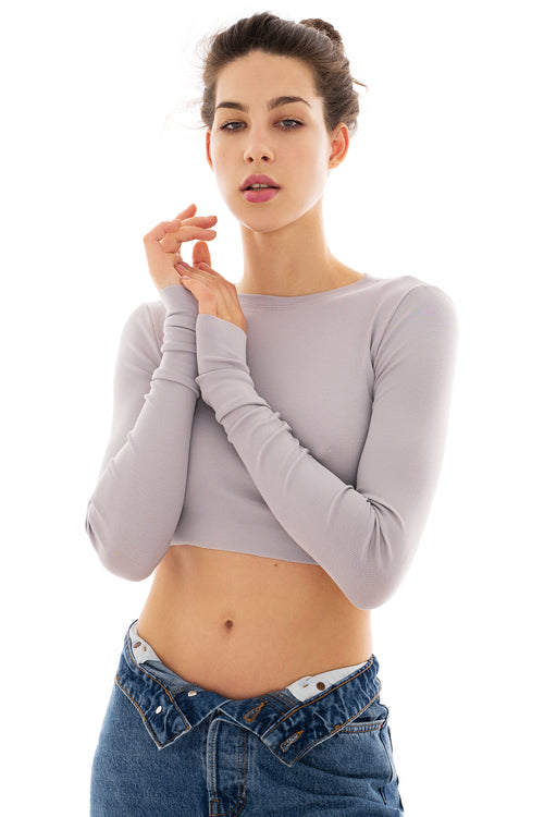crop top DARIA stone (rib)