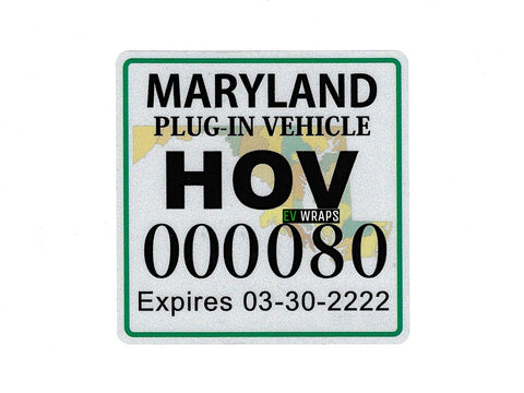 Maryland 2019 HOV Stickers Protection Film