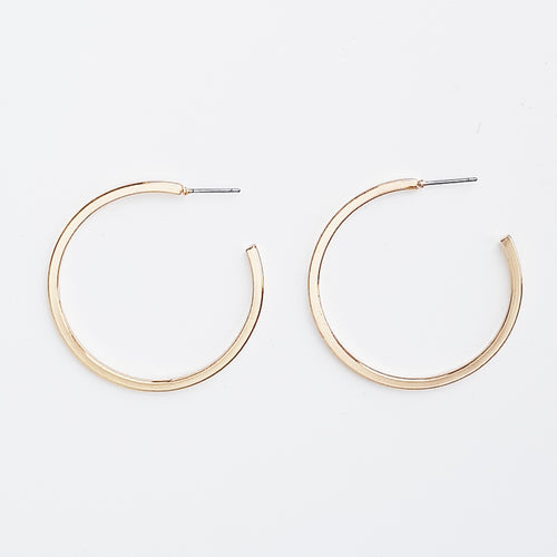 Plain Open End Hoop. [Gold]