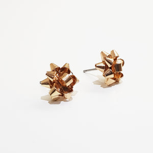 Christmas Ribbon Stud Earring. [Gold]