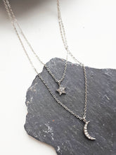 Moon & Star Diamonte Necklace. [Silver]