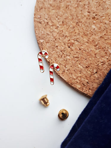 Christmas Candy Cane Stud Earring. [Gold]