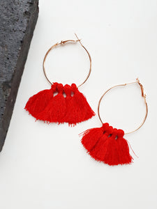 Hoop Tassle Earring. [Red]