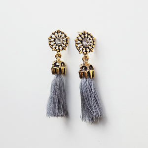 Drop Fringe Earring [Grey]