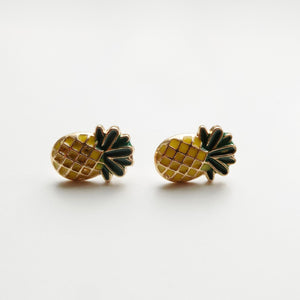 Pineapple Enamel Earring. [Gold]