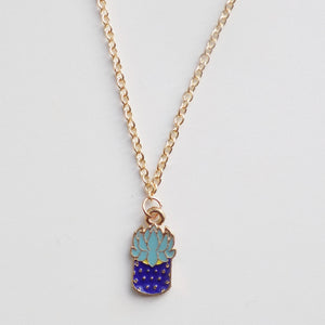Plant Blue Pot Necklace [Gold]
