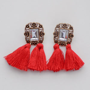 Jewel Fringe Earring [Red]