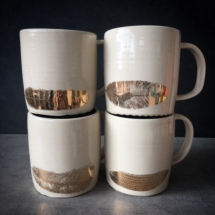 Gold feather mug - set of four