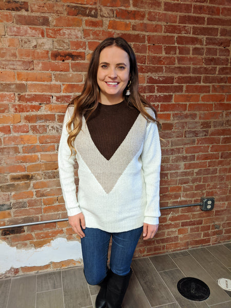 Triangle Color Block Pullover
