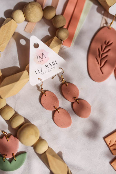 Mauve Drop Clay Earrings
