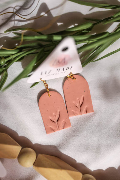Spring Mauve Stamped Clay Earrings