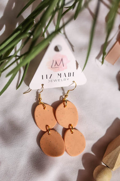 Peach Drop Clay Earrings