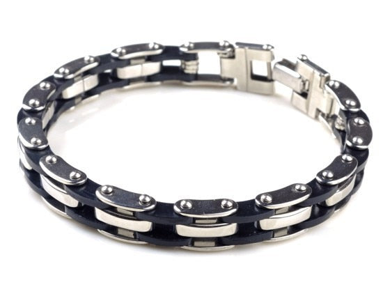 Biker's Silver Stainless Steel Link Chain & Black Silicone Bracelet