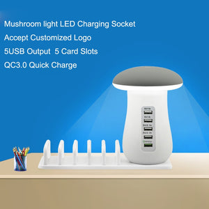 5 Port USB Charging Dock Stand With LED Desk Lamp