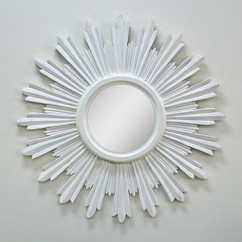 Mirror Round Wood Carved