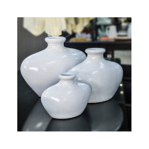 Vase Set of 3 Small Cracked