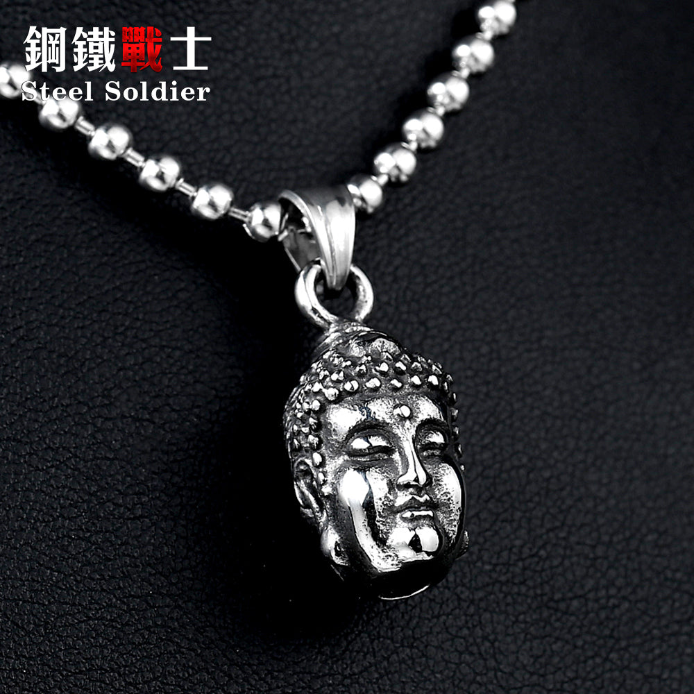 stainless steel buddha head necklace