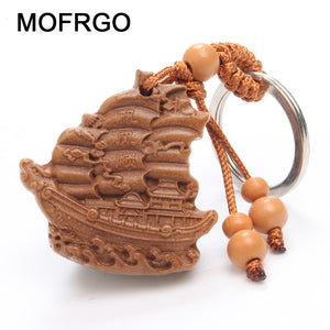 Wood Products Ship Sculpture Keychain