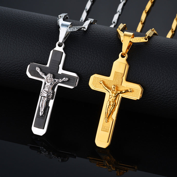 Male Stainless Steel Crucifix Necklace