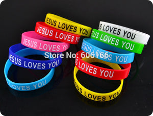 50x JESUS LOVES YOU mix colors silicone wristband
