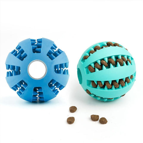 Dog Chewing Rubber Ball With Food Dispenser