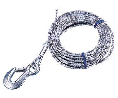 Trailer Winch Cable - Galvanized, with Hook - SeaDog