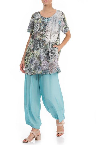 Elegant Flowers Print Silk Bamboo Blouse - GRIZAS | Natural Contemporary Womenswear