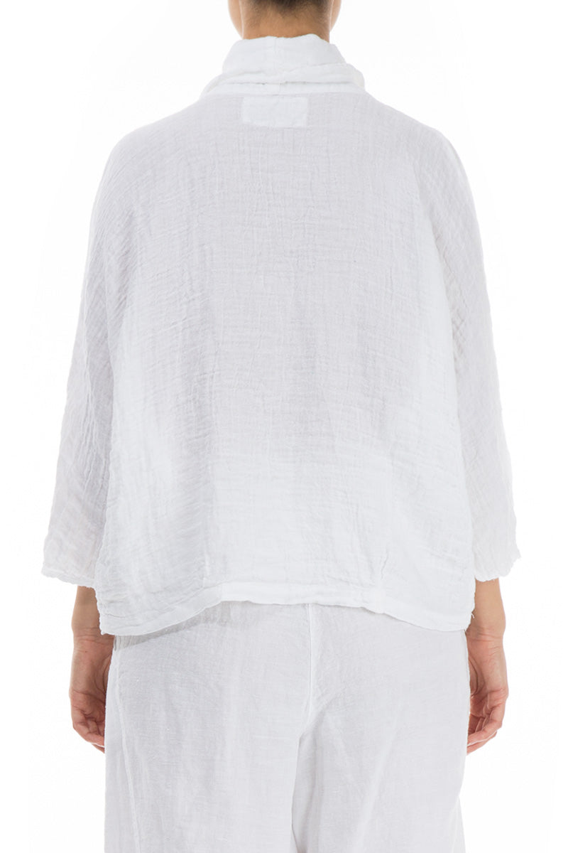 Cowl Neck White Crepe Linen Blouse