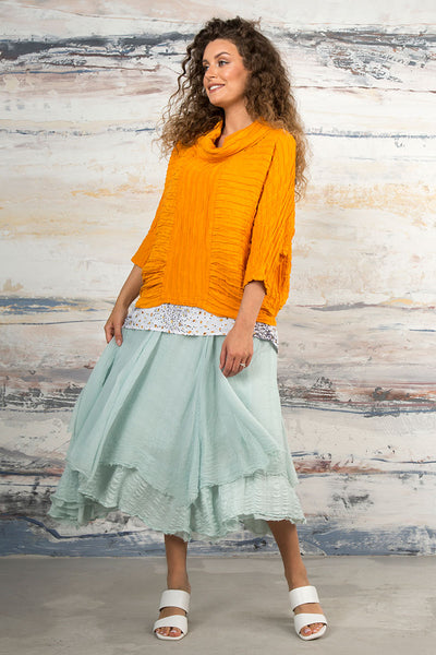 Flared Aqua Breeze Silk Chiffon Skirt