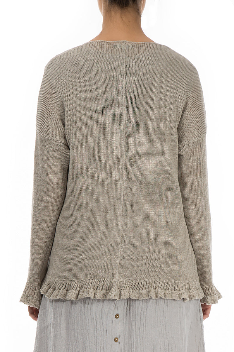 Decorated Hem Natural Linen Sweater - GRIZAS | Natural Contemporary Womenswear