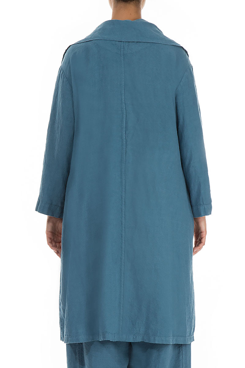 Large Collar Long Steel Blue Linen Jacket