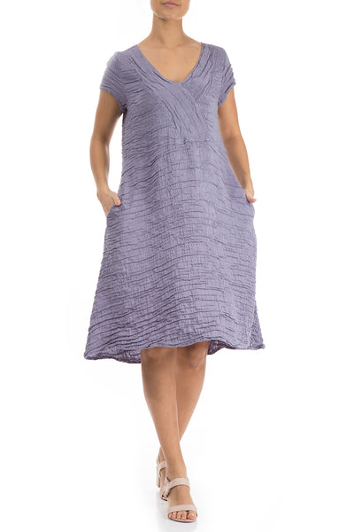 Crinkled Violet Tulip Silk Linen Dress - GRIZAS | Natural Contemporary Womenswear