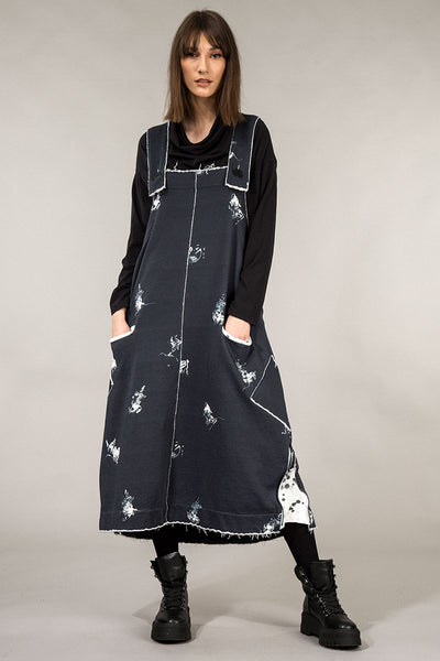 Abstract Print Cotton Overall Dress