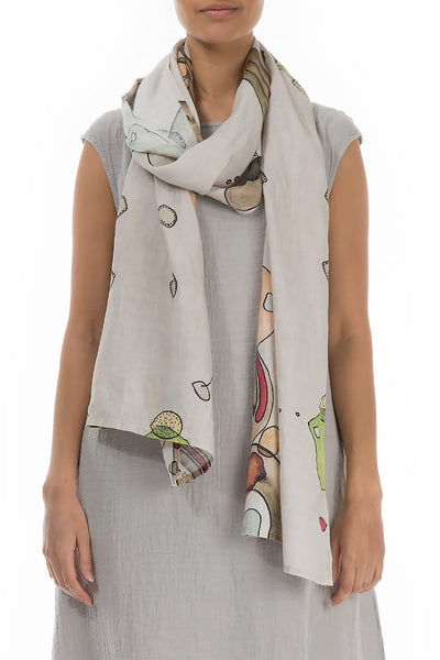 Abstract Print Linen Scarf - GRIZAS | Natural Contemporary Womenswear