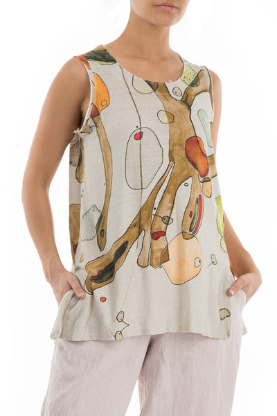 Abstract Print Natural Thin Linen Top - GRIZAS | Natural Contemporary Womenswear