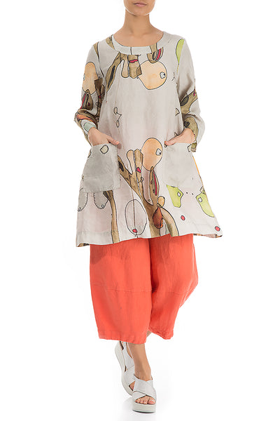 Abstract Print Natural Linen Tunic - GRIZAS | Natural Contemporary Womenswear