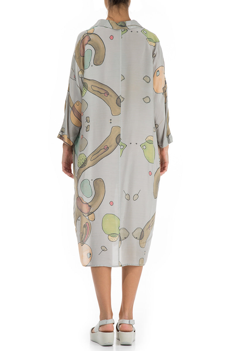 Abstract Print Silk Bamboo Shirt Dress - GRIZAS | Natural Contemporary Womenswear