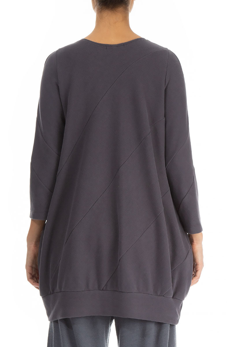 Bell Shape Anthracite Cotton Jersey Tunic