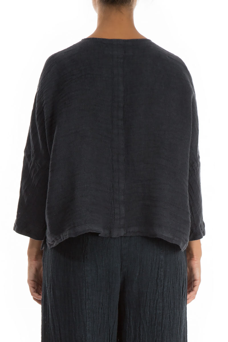Anthracite Linen Jacket Blouse