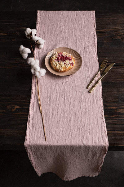 Antique Rose Soft Linen Table Runner