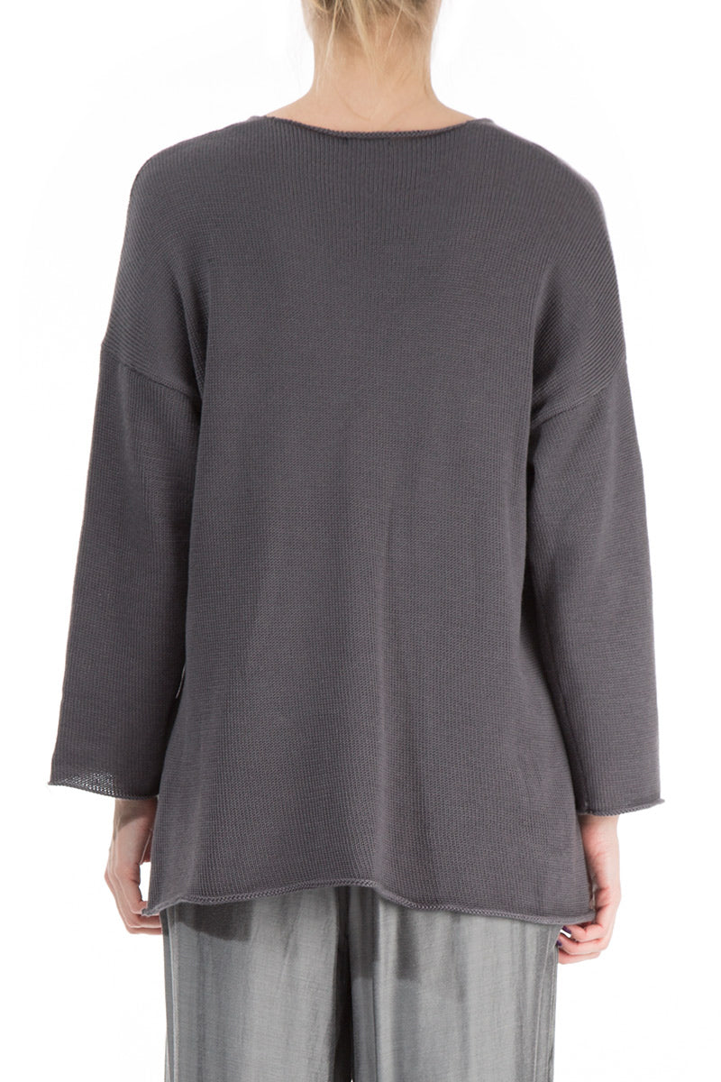 Asymmetric Brown Grey Cashmere Cardigan
