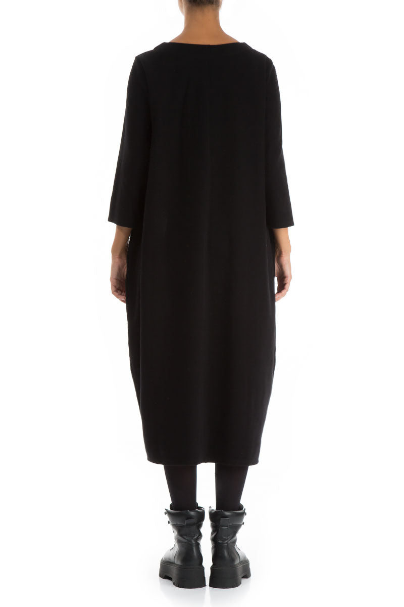 Asymmetrical Black Jersey Cotton Dress