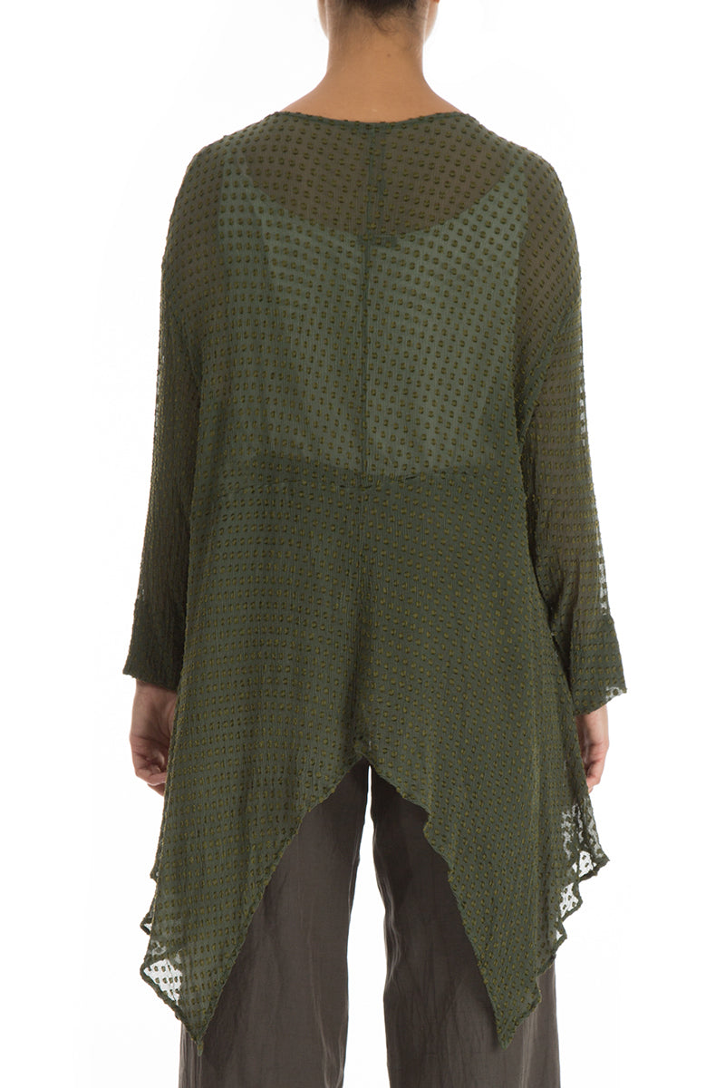Asymmetric Dotty Khaki Silk Tunic