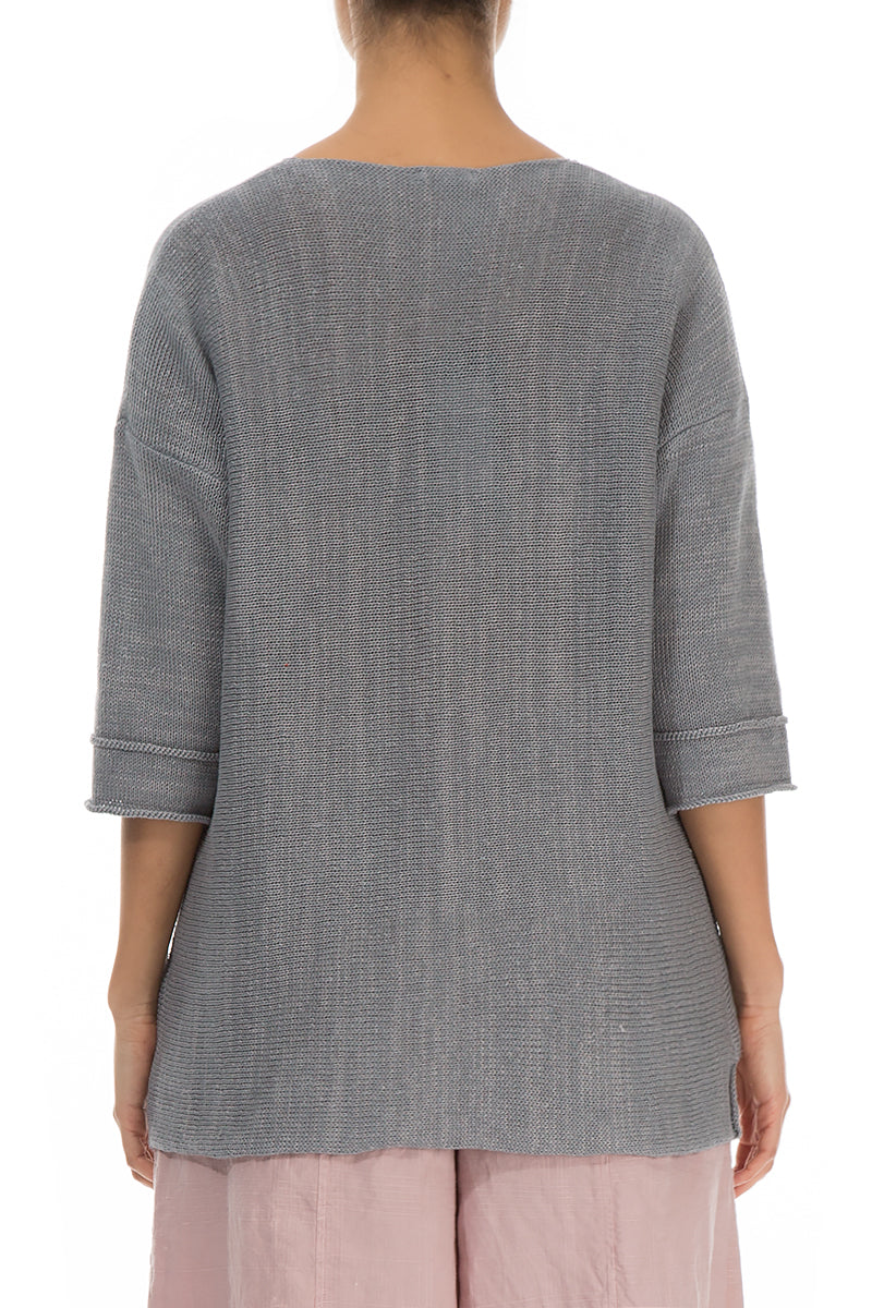 Asymmetric Light Grey Linen Jumper