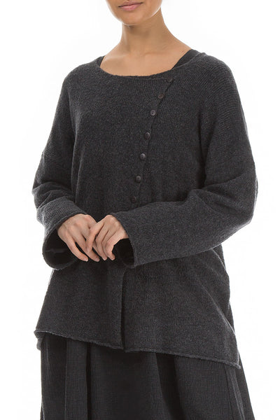 Asymmetrical Dark Grey Wool Cardigan