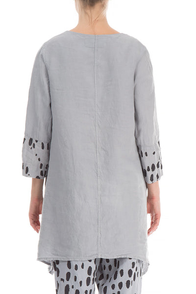 Asymmetrical Drops Print Light Grey Linen Tunic - GRIZAS | Natural Contemporary Womenswear