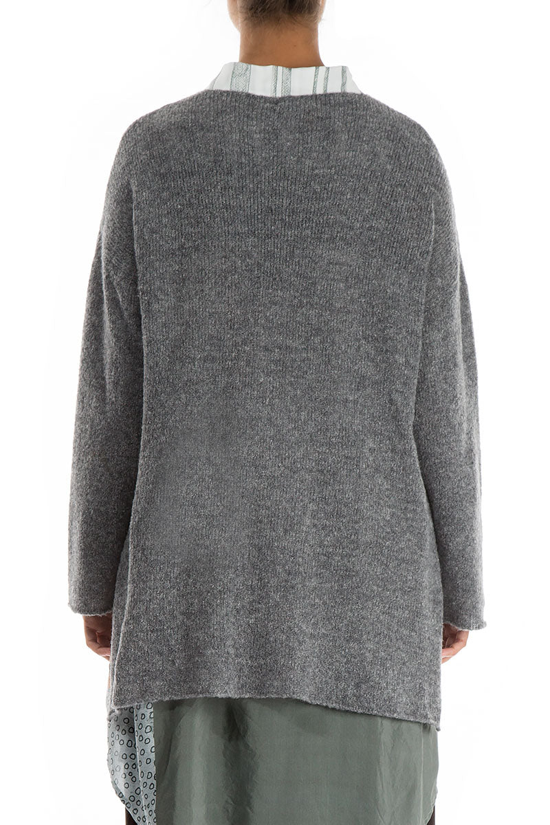 Asymmetrical Grey Wool Cardigan