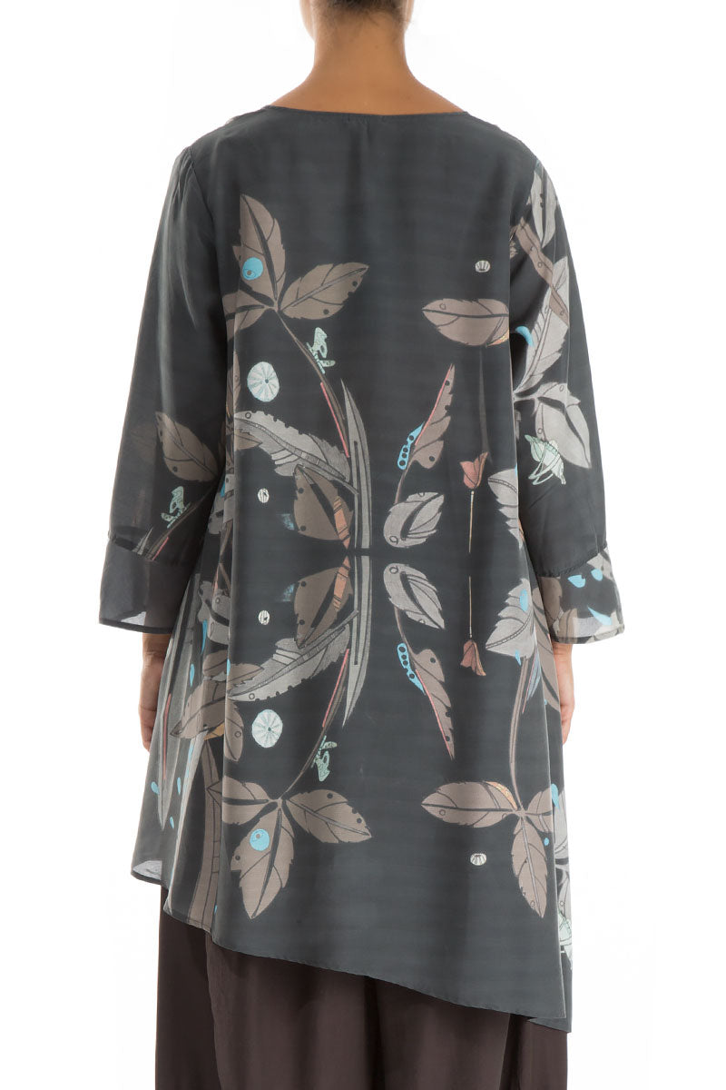 Asymmetrical Leaves Print Silk Bamboo Tunic